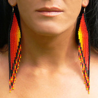 Extra Long Earrings. Native American Earrings Inspired. Red Yellow Black Orange Earrings. Shoulder Dusters. Wings.Beadwork.