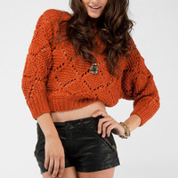 Diamond Knit Sweater in Rust :: tobi