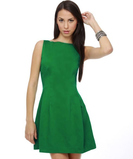 Green Dress - Classy Dress - Boned Dress - $42.00