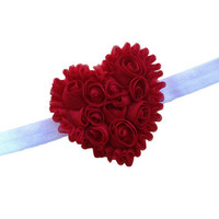 Shabby chic red heart headband - Valentines Day headband, baby headband