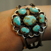Beautiful old pawn Number 8 mine turquoise heavy by navajodreams