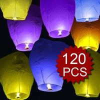 (Price/120 Pcs)Assorted Color Sky Lanterns, Halloween Party Favors (Wholesale Lot)