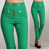 Green Button Front High Waist Zipper Pants from Milly Kate