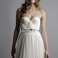 White Bridal Dress - Annie Silk Strapless Wedding Gown | UsTrendy