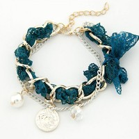 FREE Green Korean Fashion Lace Bow Coins Bracelet 09072122-450 from GowithGalaxy