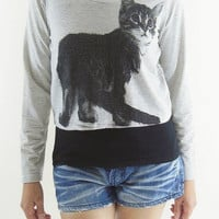 I Like Cat T-Shirt -- Black Cat Shirt Animal T-Shirt Crop Top Crop Tee Crop T-Shirt Teen Shirt Girl Shirt Women Shirt Long Sleeve Size S