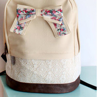 Cream Backpack with Floral Bow &amp; Lace-EMS