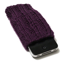 Knit iPhone 4/4S Cozy - iPhone Sleeve - Plum Purple - Acrylic Yarn