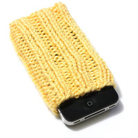 Knit iPhone Sleeve - 4/4S Sock - Cell Phone Cozy - Sunshine Yellow - Acrylic Yarn