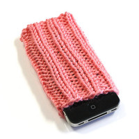Knit iPhone 4/4S Cozy - iPhone Sleeve - Strawberry Pink - Acrylic Yarn