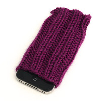 Knit iPhone Sleeve - 4/4S Sock - Cell Phone Cozy - Passionfruit Purple - Acrylic Yarn