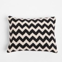 Crewel Embroidered Zigzag Pillow- Purple One