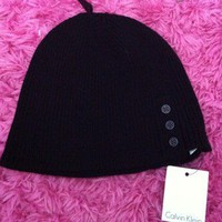 FREE SHIPPING Calvin Klein Winter Knit Button Black Beanie | Retail $36