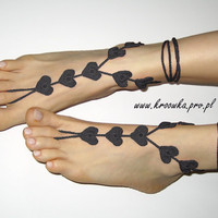 Black Heart Barefoot Sandals Goth Valentine&#x27;s Day gift by kroowka