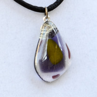 Fused glass pendant necklace purple yellow abstract by eyeseesage