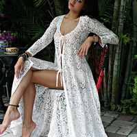 Lace Tie Front Nightgown W Panties Bridal Lingerie Wedding Sleepwear Honeymoon  Beach Cottage Chic lace  Romance