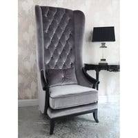 Very Velvet Blofeld Platinum Chair  |  Chairs & Armchairs  |  Seating  |  French Bedroom Company