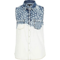 Light wash dip dye star denim shirt