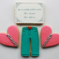 Pants Party Valentine Gift Box - 4 Cookies - MADE TO ORDER