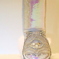 GLORIOUS EUROPHIA: UGG Classic Short  boot in pink opalescent sequins with crystal  embellishments on the toe cap and  heel