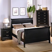 Queen Size Sleigh Bed Louis Philippe Style in Black Finish