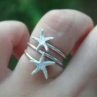 Sterling Silver (925)  double adjustable ring Starfish Ring handcrafted