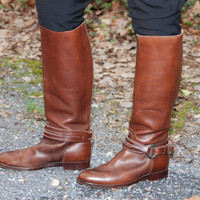 80s RALPH LAUREN tall brown buckle riding boots