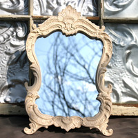 Baroque Ornate 8 x 10 Creamy Ivory  Mirror Frame - Wedding Decor, Shabby Chic Nursery Decor