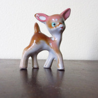 Vintage Deer Figurine Small Ceramic Fawn by ItchforKitsch on Etsy