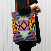 Leather Tote - Tribal Geometric Bag