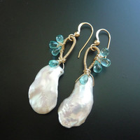 Keishi Pearl Apatite Earrings by luxurybyvera on Etsy