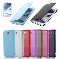 New PU Leather Flip Case Cover for Samsung Galaxy Note II 2 N7100 + Screen Film
