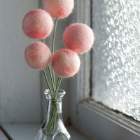 Bouquet of Needle Felted Pink Flower Spheres by meghanica on Etsy