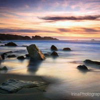 Fine art photography print Sunset at the Pacific. Purple, blue, and yellow colors