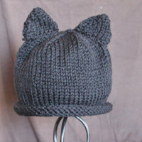 Infant Black Cat Ear Hat Ready to Ship by SunshineRoseDesign