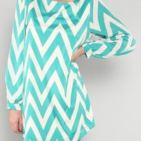 Chevron Shift Dress- Mint