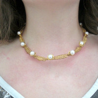 Wire Wrapped Choker- Twisted, Weaved, Pearl Accented