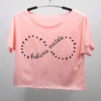 HAKUNA MATATA T Shirt Tank Top Midriff Crop Top women handmade silk screen printing