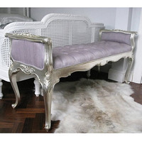 Sylvia Silver Foot End|Big Stools|Seating|French Bedroom Company