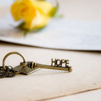 Antiqued Brass Key Pendant Hope and Love Letter by CrystalFrog
