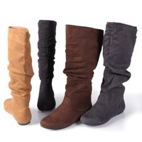 Journee Collection Slouchy Microsuede Boots
