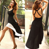 New Fashion Europe Women Deep U Sexy  Black&White Long Skirt Dress Clubbing