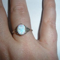 Powerful Fire Opal and Sterling Spellbound Ring owned by High Priestes