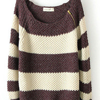 Shoulder Zip Classic Color Matching Striped Long Sleeve Sweater M from Showmall