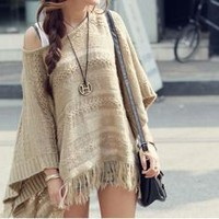 Autumn Breeze Soho Fringe Woven Cape Poncho Style Sweater Top 15-C94 L XL