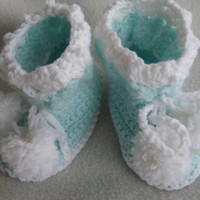 Mint Green Baby Booties Newborn to 3 Months
