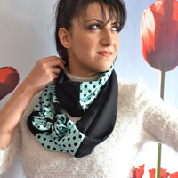 Long Polka Dot Scarf Black and Teal Scarf Double Wrap Fashion Scarf Bow Scarf - Handmade
