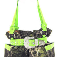 Western Camouflage Handbag Purses Rhinestone Buckle Satchel Shoulder Totes Green
