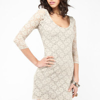 Floral Lace Dress in Cream :: tobi