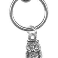 16 gauge Earring-Sterling Silver Owl Captive Ring-16 gauge 5/16 inch-Cartilage Earring-Tragus Jewel